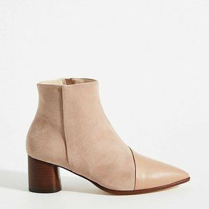 Anthropologie pink leather suede amy ankle boot si